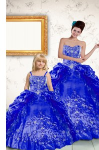 Luxurious Royal Blue Taffeta Lace Up Quinceanera Gowns Sleeveless Floor Length Beading and Embroidery and Pick Ups