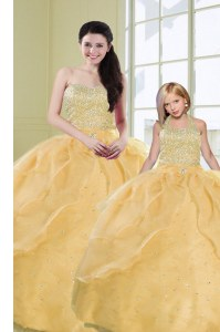 Custom Fit Gold Quince Ball Gowns Military Ball and Sweet 16 and Quinceanera and For with Beading and Sequins Sweetheart Sleeveless Lace Up