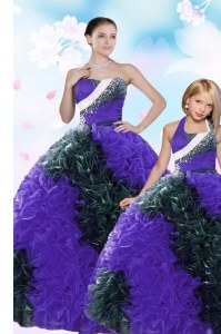 Multi-color Ball Gowns Taffeta Sweetheart Sleeveless Sequins and Pick Ups Floor Length Lace Up Sweet 16 Quinceanera Dress