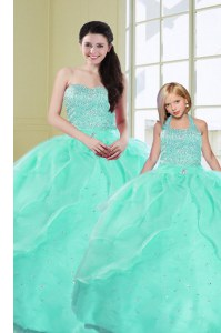 Graceful Turquoise Ball Gowns Organza Sweetheart Sleeveless Beading and Sequins Floor Length Lace Up Ball Gown Prom Dress