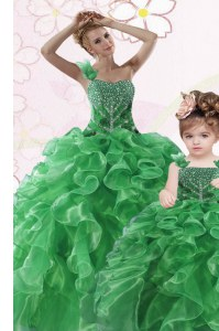 Best Green One Shoulder Lace Up Beading and Ruffles Ball Gown Prom Dress Sleeveless