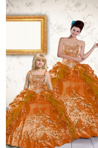 Luxurious Orange Strapless Neckline Beading and Embroidery and Pick Ups Quinceanera Dresses Sleeveless Lace Up