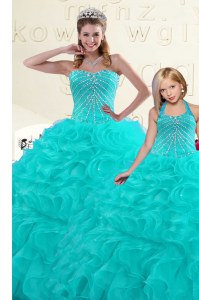 Aqua Blue Sleeveless Organza Lace Up Quinceanera Dress for Military Ball and Sweet 16 and Quinceanera