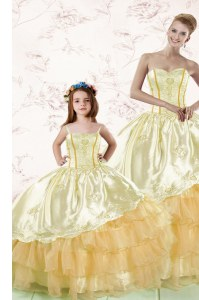 Admirable Floor Length Gold Sweet 16 Dress Organza Sleeveless Embroidery and Ruffled Layers