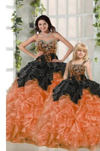 Ideal Orange Red Lace Up Sweetheart Beading and Ruffles 15th Birthday Dress Organza Sleeveless