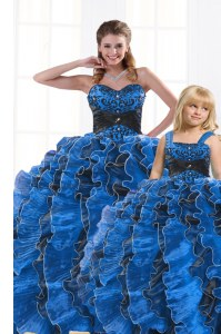 Royal Blue Lace Up Sweetheart Beading and Appliques and Ruffles Quinceanera Gown Organza Sleeveless