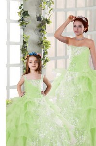Elegant Yellow Green Strapless Neckline Beading and Ruffled Layers and Ruching Sweet 16 Quinceanera Dress Sleeveless Lace Up