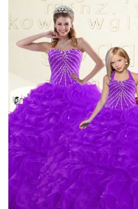Top Selling Purple Lace Up Sweetheart Beading and Ruffles Sweet 16 Dress Organza Sleeveless