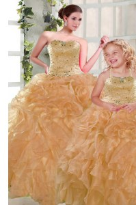 Floor Length Orange Sweet 16 Dress Strapless Sleeveless Lace Up