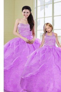 Sequins Lilac Sleeveless Organza Lace Up Quinceanera Gowns for Military Ball and Sweet 16 and Quinceanera