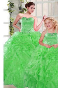 Green Lace Up Sweetheart Beading and Ruffles Quinceanera Gowns Organza Sleeveless