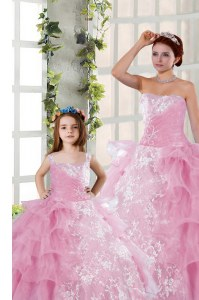 Fantastic Organza Strapless Sleeveless Lace Up Beading and Ruffled Layers and Ruching Quince Ball Gowns in Rose Pink
