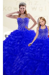Fitting Sweetheart Sleeveless Quinceanera Dress Floor Length Beading and Ruffles Royal Blue Organza