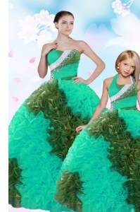 Hot Selling Sweetheart Sleeveless Taffeta Quinceanera Gown Sequins and Pick Ups Lace Up
