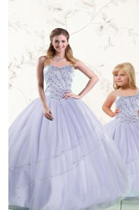 Purple Tulle Lace Up Sweetheart Sleeveless Floor Length Vestidos de Quinceanera Beading