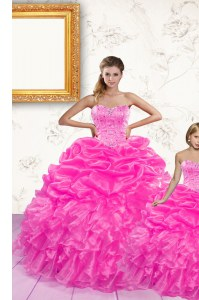 Nice Sweetheart Sleeveless Quinceanera Dress Floor Length Beading and Ruffles and Pick Ups Hot Pink Organza