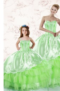 Ruffled Floor Length Quinceanera Gown Sweetheart Sleeveless Lace Up