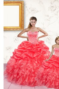 Sophisticated Floor Length Lace Up Quinceanera Gown Coral Red for Military Ball and Sweet 16 and Quinceanera with Beading and Ruffles and Pick Ups