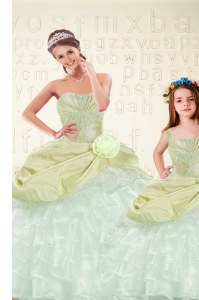 Deluxe Sleeveless Organza and Taffeta Floor Length Lace Up 15 Quinceanera Dress in Yellow Green with Beading and Ruffled Layers and Hand Made Flower