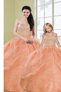 Fabulous Organza Sweetheart Sleeveless Lace Up Beading and Sequins Quinceanera Gown in Orange