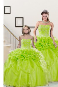 Lovely Pick Ups Yellow Green Sleeveless Organza Lace Up Quince Ball Gowns for Military Ball and Sweet 16 and Quinceanera