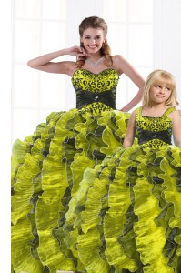 Perfect Sweetheart Sleeveless Lace Up Quinceanera Dresses Yellow Green Organza