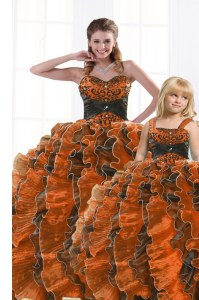 Classical Sleeveless Floor Length Beading and Appliques and Ruffles Lace Up Sweet 16 Dress with Orange