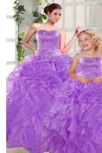 Perfect Purple Ball Gowns Beading and Ruffles 15th Birthday Dress Lace Up Organza Sleeveless Floor Length