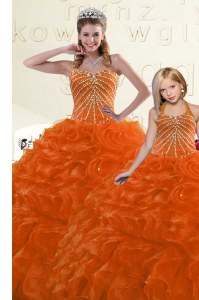 Organza Sweetheart Sleeveless Lace Up Beading and Ruffles Quinceanera Gown in Orange