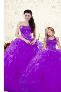 Fantastic Floor Length Lace Up Quince Ball Gowns Eggplant Purple for Military Ball and Sweet 16 and Quinceanera with Beading and Ruffles