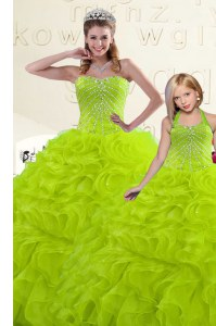 Beautiful Yellow Green Organza Lace Up Sweetheart Sleeveless Floor Length Sweet 16 Quinceanera Dress Beading and Ruffles