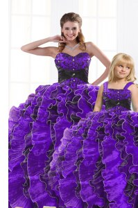 Sweetheart Sleeveless Vestidos de Quinceanera Floor Length Beading and Appliques and Ruffles Black And Purple Organza