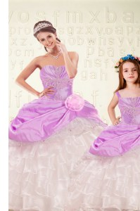 Lilac Lace Up Quinceanera Dresses Beading and Ruffled Layers and Hand Made Flower Sleeveless Floor Length