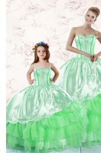 On Sale Green 15th Birthday Dress Military Ball and Sweet 16 and Quinceanera and For with Embroidery and Ruffled Layers Sweetheart Sleeveless Lace Up
