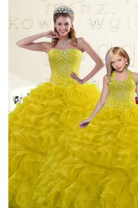 Classical Gold Lace Up Sweet 16 Quinceanera Dress Beading and Ruffles Sleeveless Floor Length