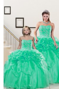 Pick Ups Sweetheart Sleeveless Lace Up 15th Birthday Dress Turquoise Organza