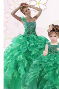 One Shoulder Sleeveless Lace Up Quinceanera Dress Green Organza