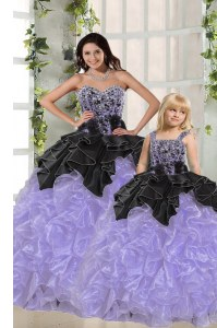 Discount Lavender Sweetheart Neckline Beading and Ruffles Quinceanera Gowns Sleeveless Lace Up