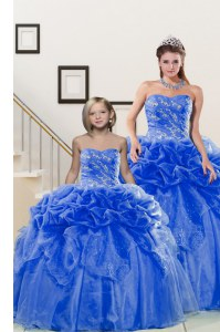 Pick Ups Ball Gowns Vestidos de Quinceanera Blue Sweetheart Organza Sleeveless Floor Length Lace Up