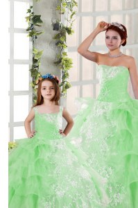 Nice Organza Strapless Sleeveless Lace Up Beading and Ruffled Layers and Ruching Vestidos de Quinceanera in