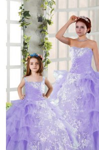 Cheap Sleeveless Lace Up Floor Length Embroidery and Ruffled Layers Quinceanera Gowns