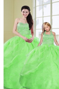 Superior Green Organza Lace Up Sweet 16 Dresses Sleeveless Floor Length Beading and Sequins