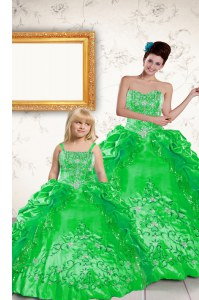 Unique Floor Length Green Quinceanera Dress Taffeta Sleeveless Beading and Embroidery and Pick Ups