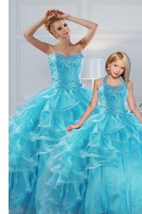 Aqua Blue Sweetheart Lace Up Beading and Ruffled Layers Ball Gown Prom Dress Sleeveless