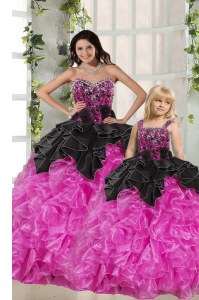 Beauteous Sleeveless Beading and Ruffles Lace Up Quinceanera Dresses
