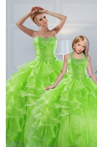 Chic Sleeveless Floor Length Beading and Ruffled Layers Lace Up Quinceanera Gowns