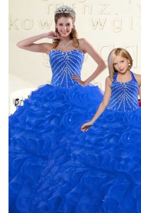 Low Price Organza Sleeveless Floor Length Ball Gown Prom Dress and Beading and Ruffles