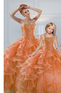 Unique Sleeveless Beading and Ruffled Layers Lace Up Quinceanera Dress