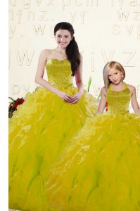 Sleeveless Organza Floor Length Lace Up 15th Birthday Dress in Yellow with Beading and Ruffles