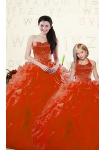 Floor Length Ball Gowns Long Sleeves Red Quinceanera Dress Lace Up